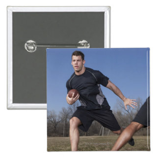 A running play during a touch football game. 15 cm square badge