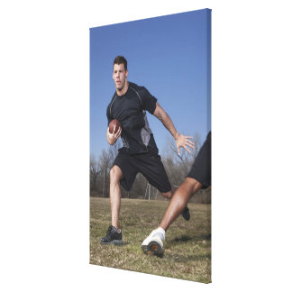 A running play during a touch football game. gallery wrapped canvas