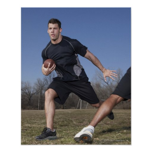 A running play during a touch football game. print