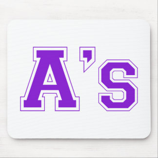 A s square logo in purple mouse pad