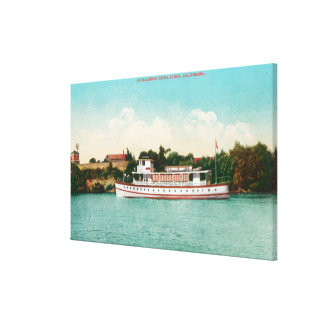 A Sacramento River Scene with a Riverboat Stretched Canvas Print