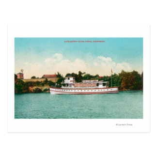 A Sacramento River Scene with a Riverboat Postcard