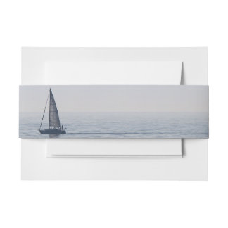 A Sailboat on a Calm Sea Invitation Belly Band