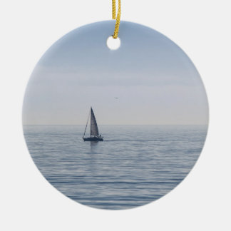 A Sailboat on a Calm Sea Round Ceramic Decoration