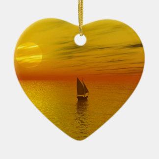 A sailing boat. ceramic heart decoration