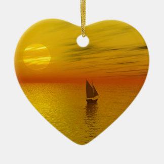 a sailing boat ceramic heart decoration