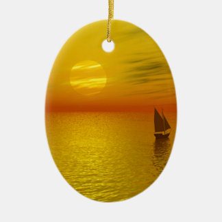 a sailing boat ceramic oval decoration