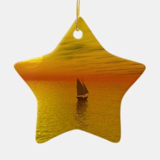 a sailing boat ceramic star decoration