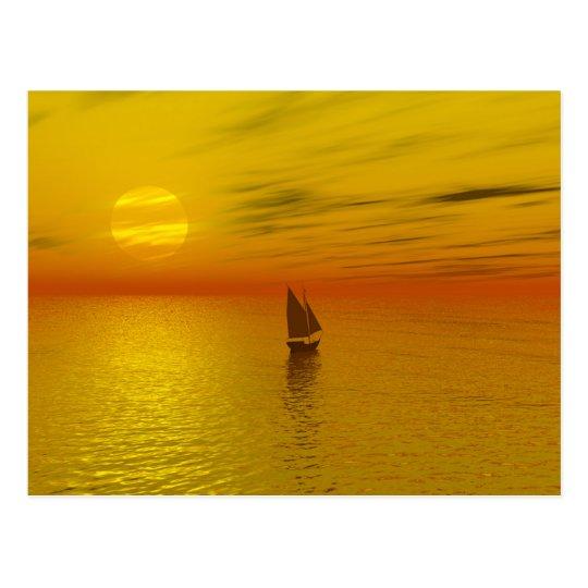 A sailing boat. postcard