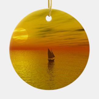 A sailing boat. round ceramic decoration