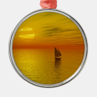 a sailing boat Silver-Colored round decoration