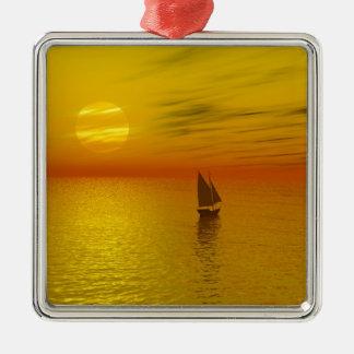 a sailing boat Silver-Colored square decoration