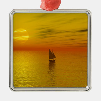 A sailing boat. Silver-Colored square decoration