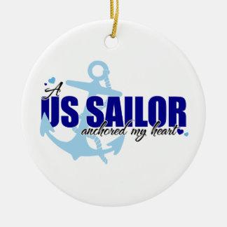 A Sailor Anchored my Heart Christmas Ornament