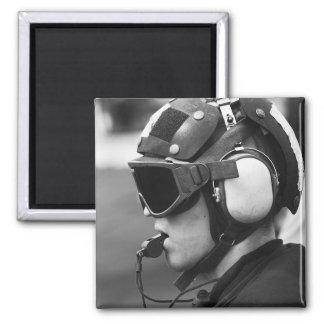 A Sailor supervises flight operations Square Magnet