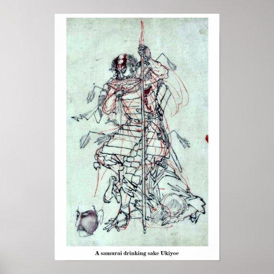 A samurai drinking sake Ukiyoe Poster