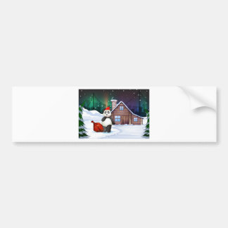 A Santa panda with a red sack full of gifts Bumper Sticker