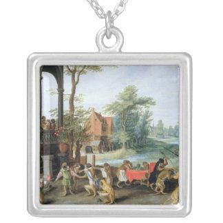A Satire of the Folly of Tulip Mania Silver Plated Necklace