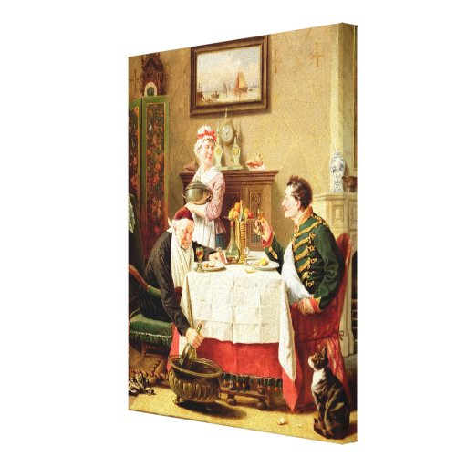 A Satisfying Meal, 1883 (oil on  canvas) Gallery Wrap Canvas