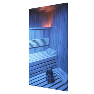 A sauna in blue light, Sweden. Canvas Print