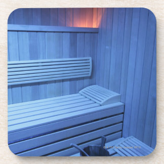A sauna in blue light, Sweden. Coaster