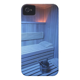 A sauna in blue light, Sweden. iPhone 4 Covers