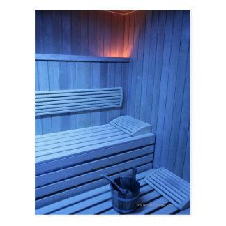 A sauna in blue light, Sweden. Postcard