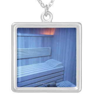 A sauna in blue light, Sweden. Silver Plated Necklace