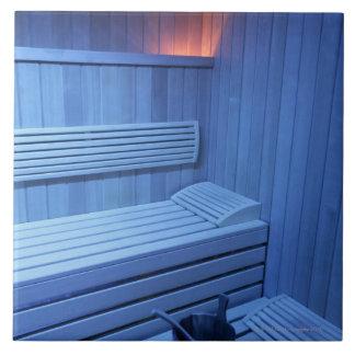 A sauna in blue light, Sweden. Tile