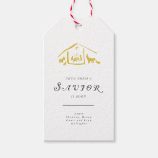 A Savior Is Born Holiday Gift Tags - Golden