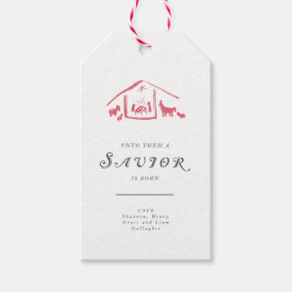 A Savior Is Born Holiday Gift Tags - Winterberry