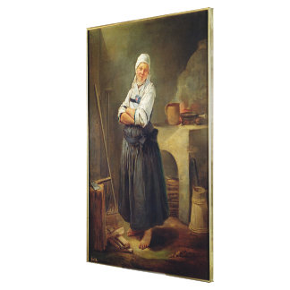 A Saxon Villager in her Kitchen (oil on canvas) Canvas Print