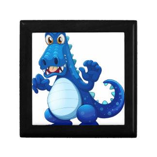 A scary blue crocodile small square gift box