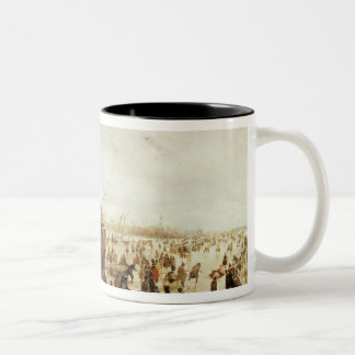 A Scene on the Ice near a Town, c.1615 Two-Tone Coffee Mug