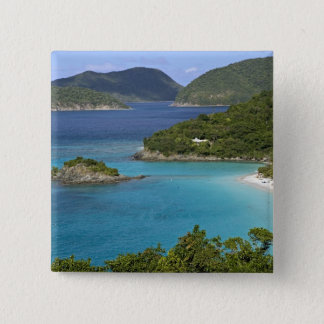 A scenic of Caneel Bay from a road at St. John 15 Cm Square Badge