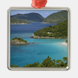 A scenic of Caneel Bay from a road at St. John Silver-Colored Square Decoration