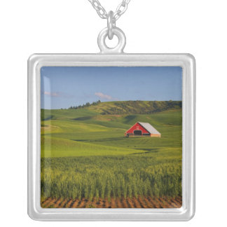 A scenic view of a barn in Moscow Idaho. Square Pendant Necklace