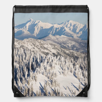 A Scenic View of Snowy Mountains and Trees. Drawstring Bag