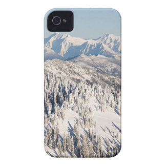 A Scenic View of Snowy Mountains and Trees. iPhone 4 Case