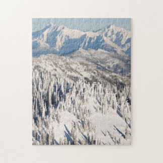 A Scenic View of Snowy Mountains and Trees. Jigsaw Puzzle