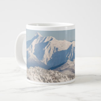 A Scenic View of Snowy Mountains and Trees. Large Coffee Mug