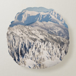 A Scenic View of Snowy Mountains and Trees. Round Cushion