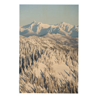 A Scenic View of Snowy Mountains and Trees. Wood Wall Decor