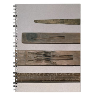 A scribe's instruments (wood, ivory, bronze and en notebook