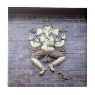 A sculpture of Hindu God Ganesha Small Square Tile