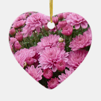 A Sea of Pink Chrysanthemums #2 Ceramic Heart Decoration
