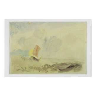 A Sea Piece - A Rough Sea with a Fishing Boat, 182 Poster