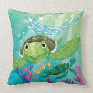 A Sea Turtle Rescue Throw Pillows