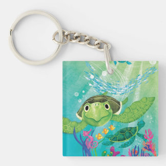 A Sea Turtle Rescue Double-Sided Square Acrylic Key Ring