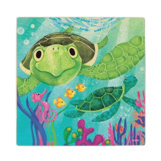 A Sea Turtle Rescue Maple Wood Coaster